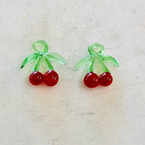 2 Pieces Red Glass Cherries Cherry Charm Juicy Fruit Charm Cute Glass Charm Food Pendant
