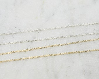 1.4mm x 1.6mm Dainty Lightweight Minimal Delicate Round Link Chain / Sold by the Foot / Bulk Unfinished Chain
