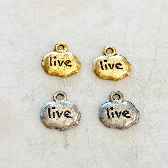 2 Pieces Pewter Base Metal  Small Wide Stamped With Live Charm Pendant Inspirational Charm Antique Gold, Antique Silver