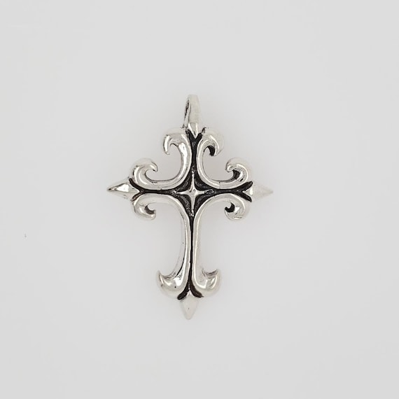 Sterling Silver Large Thick Sturdy Fleur De Lis Detailed Medieval Style Cross Charm Pendant Religious Spiritual Catholic Pendant