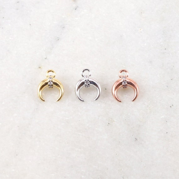 Small Horn Crescent Moon Rhodium Plated with Cubic Zirconia Stone in Gold  Silver or Rose Gold 9mm