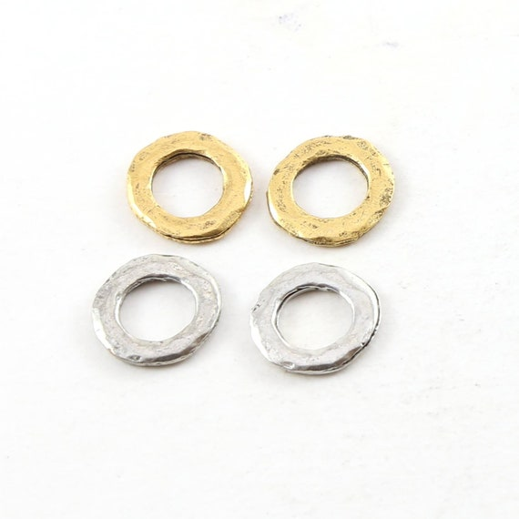 4 Pieces Small Hammered Textured Rugged 12mm Pewter Metal Raw Open Circle Connector Ring Charm