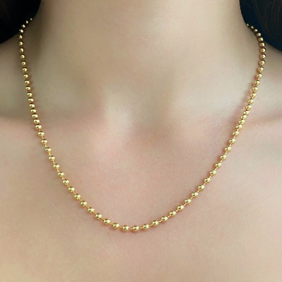 Ready to Wear 16k Gold Plated 3.2mm Ball Chain Necklace