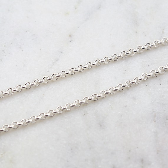 3mm Solid Thick Durable Strong Sturdy Sterling Silver Belcher Rolo Chain  / Sold by the Foot / Bulk Unfinished Chain