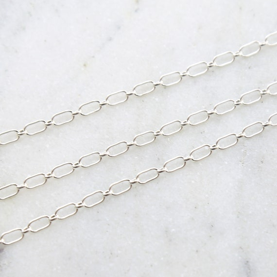 Sturdy Sterling Silver Rectangular Oval Link Chain 6mmx3mm / Sold by the Foot / Bulk Unfinished Chain
