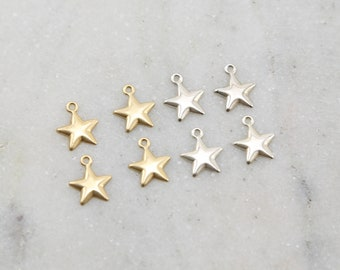 4 Pieces Delicate Lightweight Star Charm in Sterling Silver and 14K Gold Filled