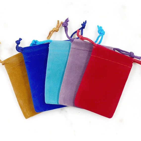 """5 Pieces Small 2"""" x 3""""  Velveteen Drawstring Bag Pouch Wedding Favors, Jewelry Packaging, Coin Storage, Small Gift Bag / Choose your Color"""