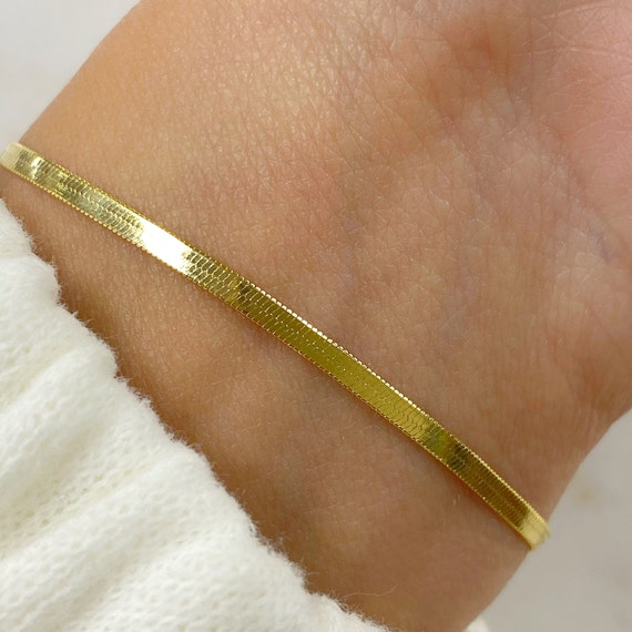Ready To Wear Gold Plated Herringbone Bracelet