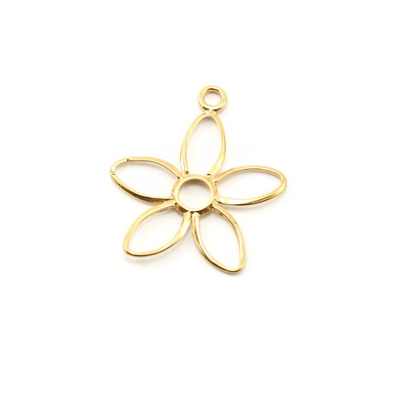 Large Daisy Flower Vermeil Gold Nature Charm Spring Pendant