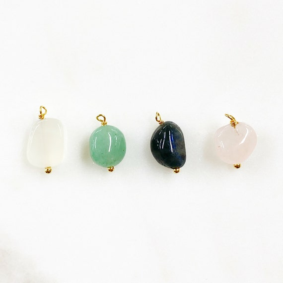 Gemstone Gold Plated Charm Natural Shape Gem Charm Choose Your Color Organic Stone Jewelry Making Charms