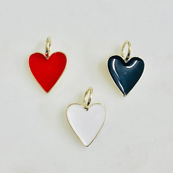 Cute Enamel Heart Charm Choose Your Color Red, Black, or White Valentine's Day Heart Charm Love Friendship Heart Charm Pendant Gold Plated
