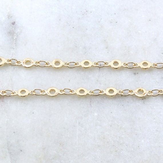 Base Metal Shiny Gold Round Open Circle 9mm x 4mm Dainty Flat Oval Extender Link Chain / Chain by the Foot