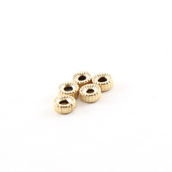 5 Pieces 4mm Corrugated Seamless Pony Rondelle 14K Gold Filled Spacer Beads