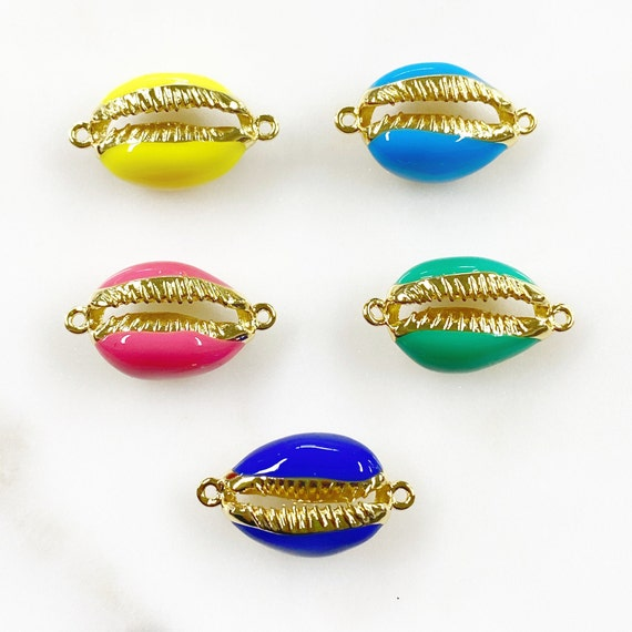 Enamel Cowrie Shell Connector Charm Choose Your Color Gold Plated Colorful Shell Charm Beach Ocean Sea Shell Jewelry Making Charms