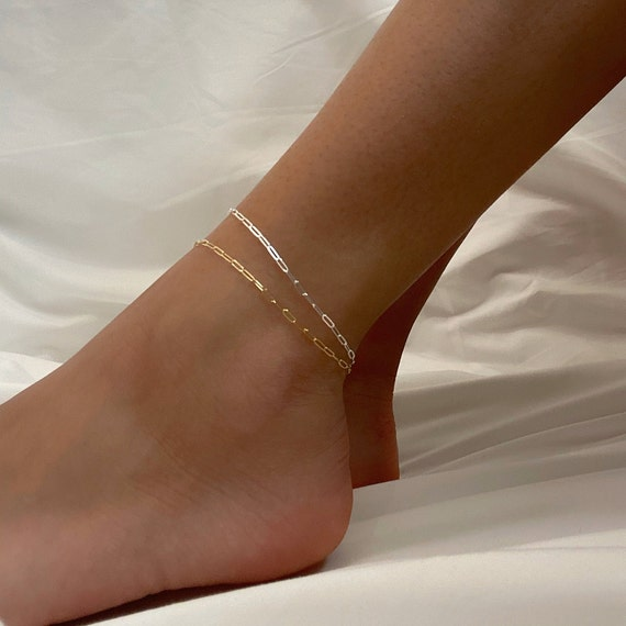 Andi 14k Gold Filled or Sterling Silver Dainty Thin Chain, Ready to Wear Anklet Choose Your Style