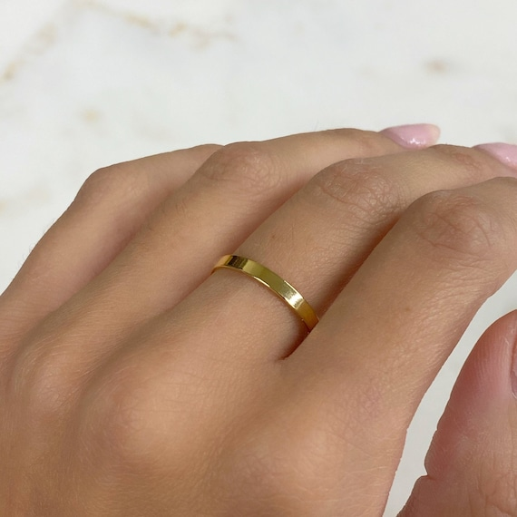 14k Gold Filled Thick Flat Ring Simple Stackable GF Band Ring Size 7