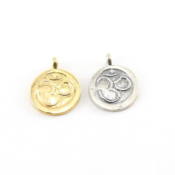 Round Ohm Stamped Charm Pendant in Sterling Silver and Vermeil Gold