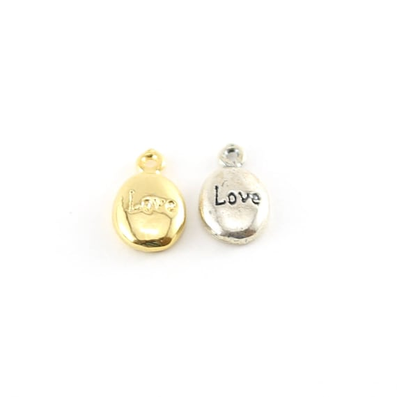 Love Stamped Rounded Oval Charm in Sterling silver and Vermeil Gold Friendship Mom Sister Pendant