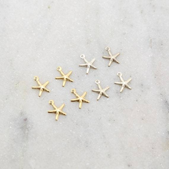 4 Pieces Teeny Tiny Lightweight Starfish Charm in Sterling Silver and 14K Gold Filled