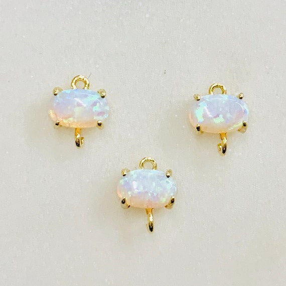 1 Piece Tiny Oval Opal Connector Gold Plated Dainty Bezel 7mm x 5mm Gold Rimmed Gemstone Connector