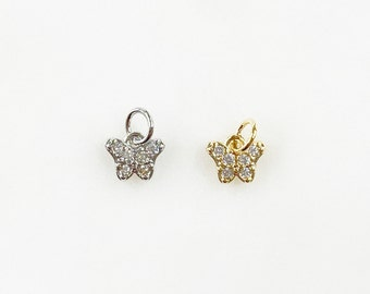Teeny Tiny Butterfly Charm CZ Gold Plated Charm Choose Your Color Silver or Gold