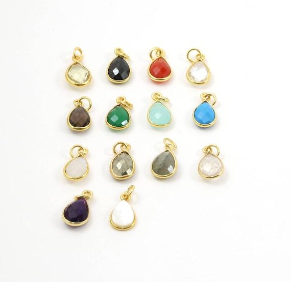 Teardrop Semi Precious Faceted Gemstone 1 Loop Pendant Drop Charm / Vermeil or Sterling / Choose your Stone