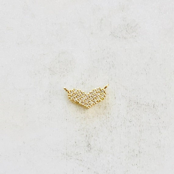 Dainty Pave CZ  Heart Connector Charm Gold Plated Cubic Zirconia Love Friendship Valentine's Day Charm