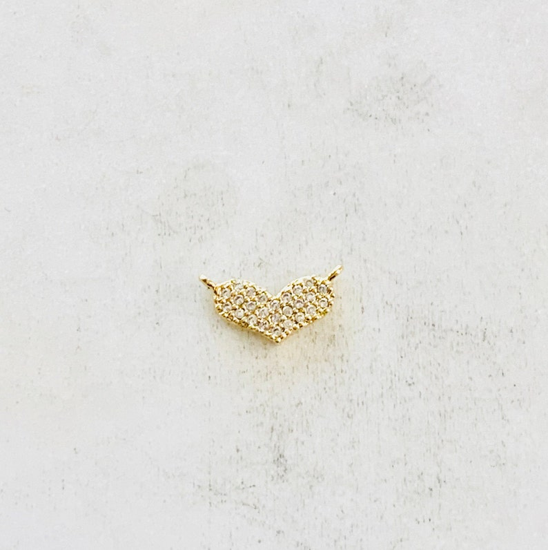 Dainty Pave CZ  Heart Connector Charm Gold Plated Cubic image 0