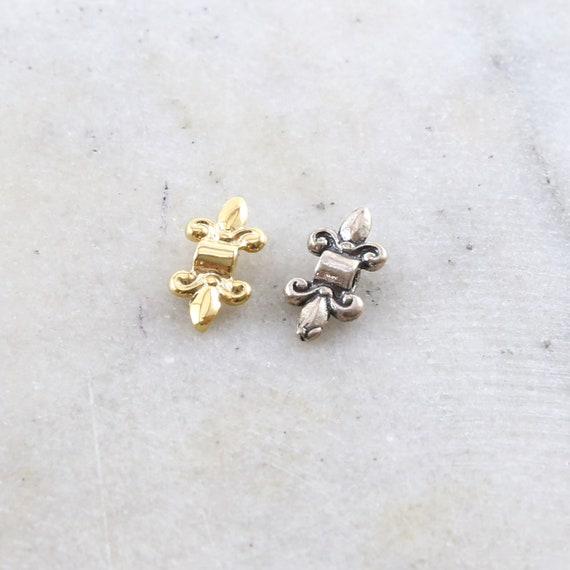 Fleur De Lis Spacer Bead Fancy Accent Charm in Sterling Silver or Vermeil Gold