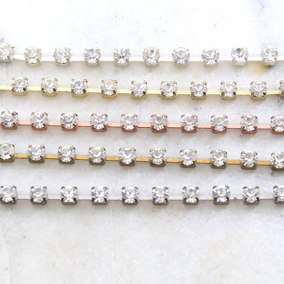 Base Metal Clear Preciosa Rhinestone Chain in Gold, Silver, Antique Brass, Antique Copper, Gunmetal / Chain by the foot / Choose your Color