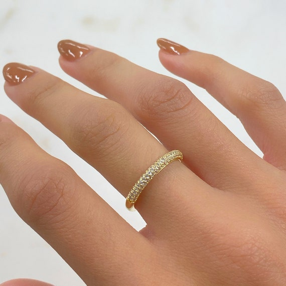 Adjustable Simple CZ Ring Gold Plated Half CZ Stackable Ring