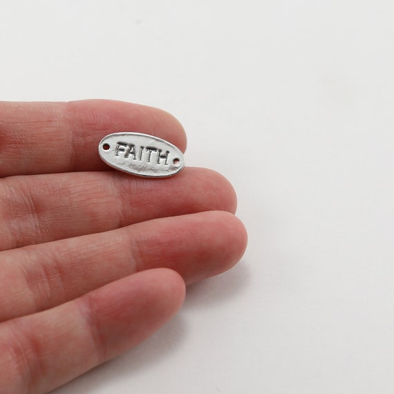 Sterling Silver Faith Stamped Rounded Oval Connector Charm Inspiration Pendant Dog Tag