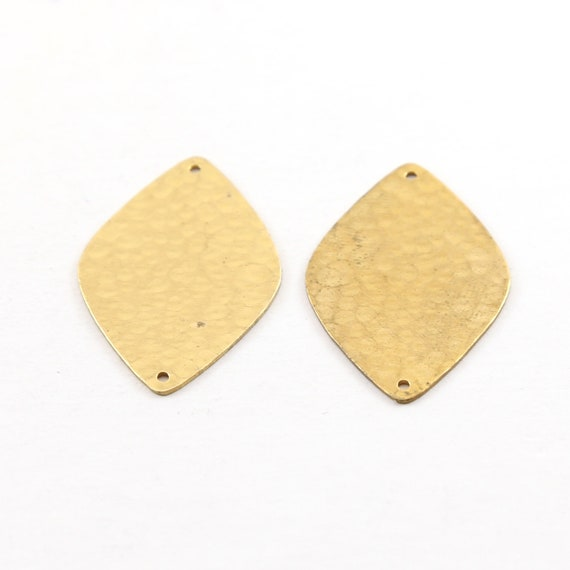 2 Pieces Raw Brass Rounded Diamond Leaf  34mm x 23mm Connector Link Round Charm Textured Stamping Blank