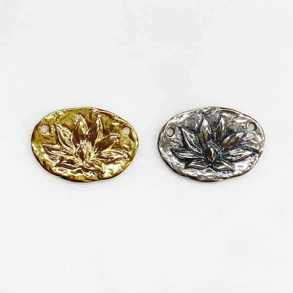 Vermeil or Sterling Silver Lotus Flower Connector Pendant Charm Backs Says Enlightenment Lotus Unique Jewelry Making Charm