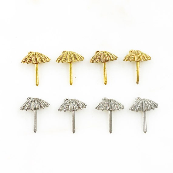 4 Piece Pewter Umbrella Charm Beach/Ocean Charms Choose Your Color Antique Gold or Antique Silver