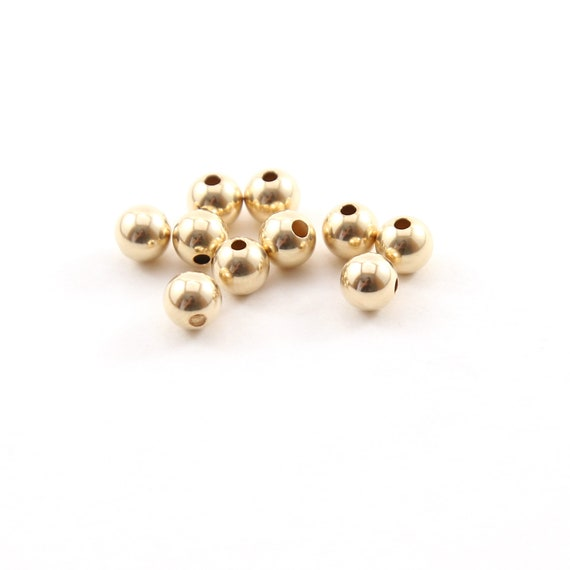 10 Pieces 5mm Smooth Seamless Round 14K Gold Filled Spacer Beads