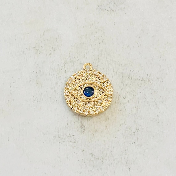 Round Blue Crystal Evil Eye Charm Pendant Evil Eye Coin Gold Plated CZ Drop Charm Pendant Cubic Zirconia Protection Charm