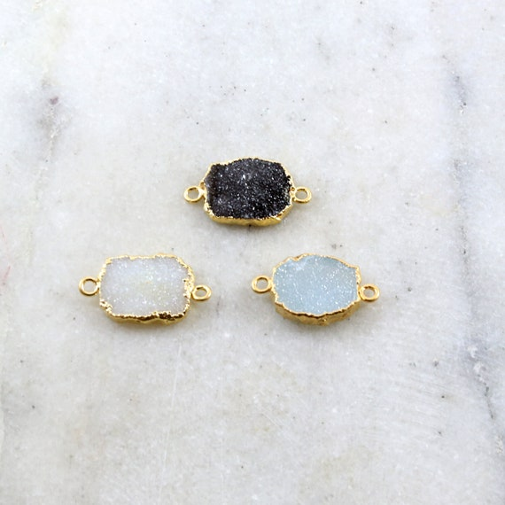 1 Piece Sparkling Unique Organic Shape Druzy Connector Link 2 Loops Charm / Vermeil / Choose your Druzy Color / Black, White, Blue Druzy