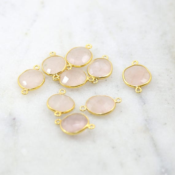 Gold Rose Quartz Natural Shaped Raw Nugget Faceted Connector Bezel Charm