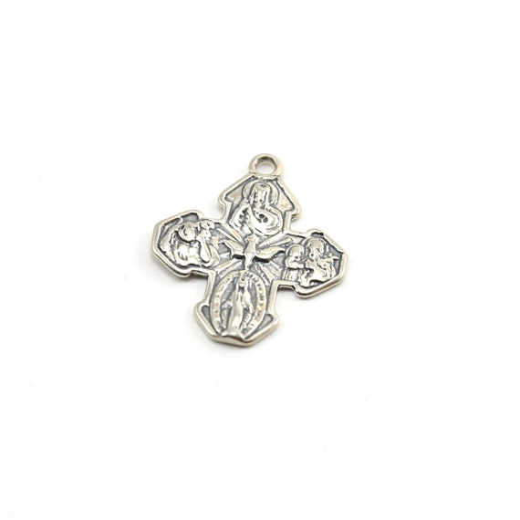 Sterling Silver Large 4-Way Scapular Medal Cross Charm Pendant Religious Spiritual Catholic Pendant