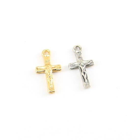 Mini Tiny Little Crucifix Cross Charm With Flat Back in Sterling Silver and Vermeil Gold