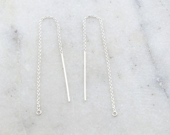 1 Pair Long Sterling Silver 3 Inch Chain Threader Dangle Earring Hook Component