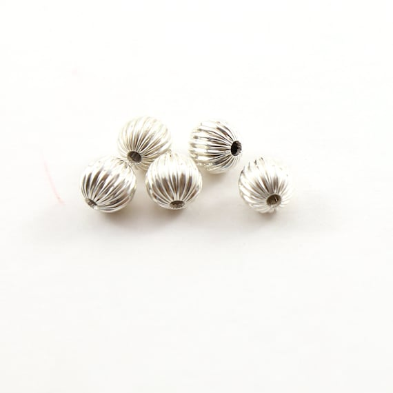 5 Pieces 8mm Corrugated Seamless Round Sterling Silver 925 Spacer Beads