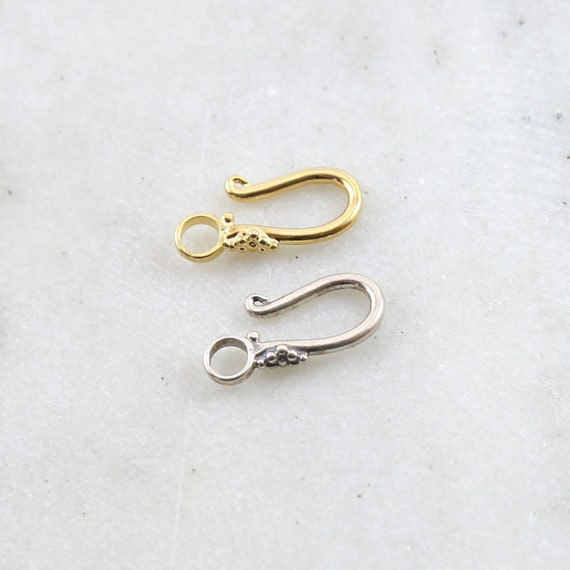 Hook Clasp with Flower Bali Style Back Design in Sterling Silver or Vermeil Jewelry Making Supplies Chain Findings