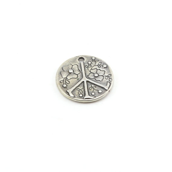 Floral Sterling Peace Sign Circle Charm Medallion Hippie Love 60's Charm