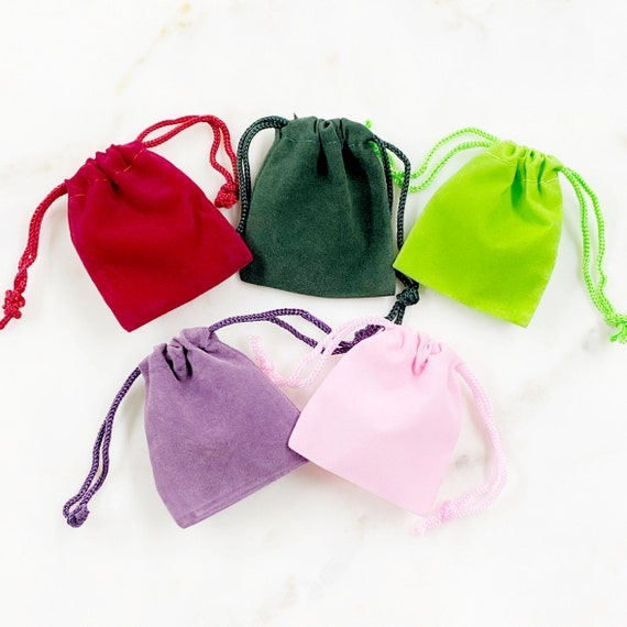 5 Pieces Small Velveteen Drawstring Bag Pouch Wedding Favors, Jewelry Packaging, Coin Storage, Small Gift Bag / Choose your Color