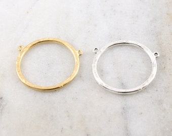 Large Textured Pewter Base Metal Hammered Double Top Loop Open Circle Coin Charm Gold or Silver