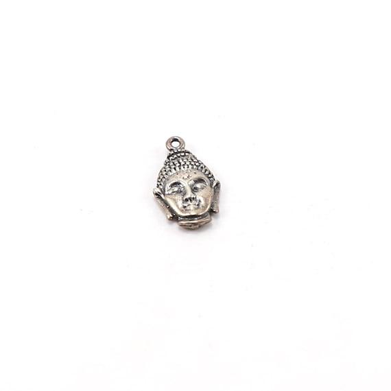 Thai Buddha Head Charm Ohm Meditation Mantra Pendant in Sterling Silver