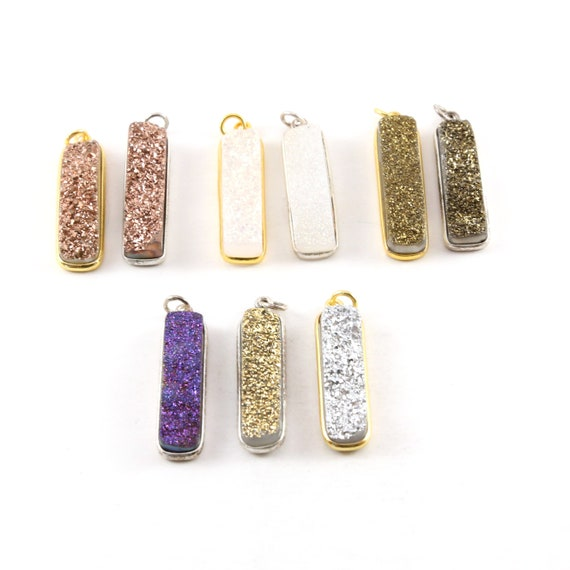 1 Piece Tall Sparkling Druzy Bar Pendant Charm 1 Loop Pendant Drop Charm / Vermeil / Sterling Silver / Choose your Druzy Color