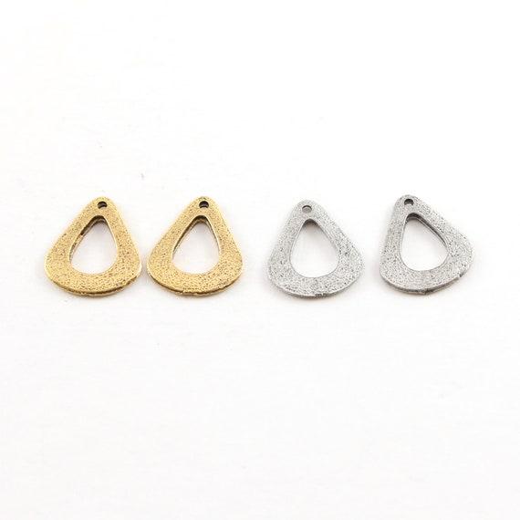 2 Pieces Pewter Metal Speckle Textured Open Teardrop Petal Pendant Antique Gold, Antique Silver
